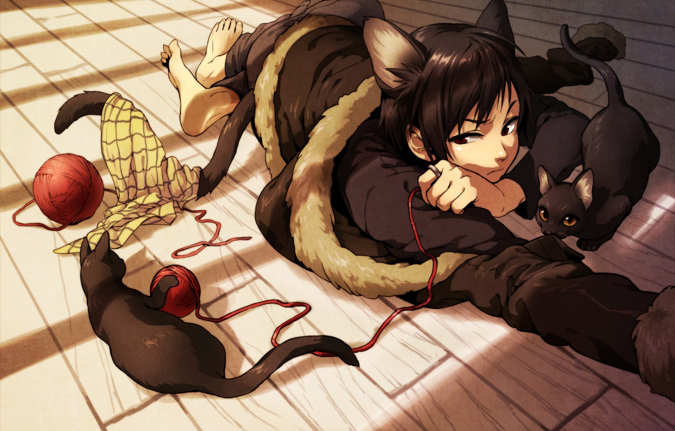 Photo wallpaper cats, tangle, the game, neko, ponytail