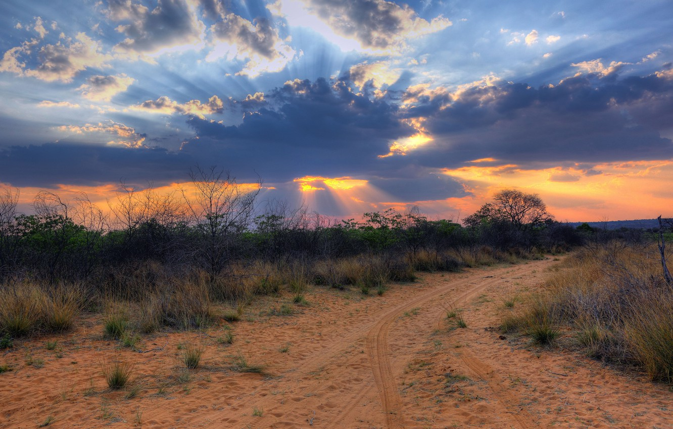 Photo wallpaper clouds, landscape, sunset, desert, Africa, Namibia, South Africa