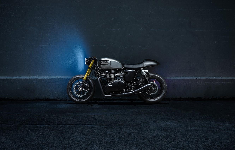 Photo wallpaper Side, Bike, Custom, Triumph, Bonneville, Racer, Motorcycle, The Bullitt