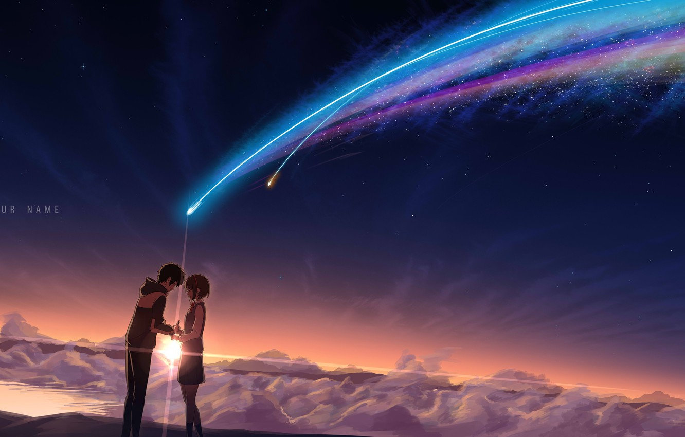 Photo wallpaper the sky, girl, stars, clouds, sunset, night, anime, art, guy, students, kimi no VA on, …