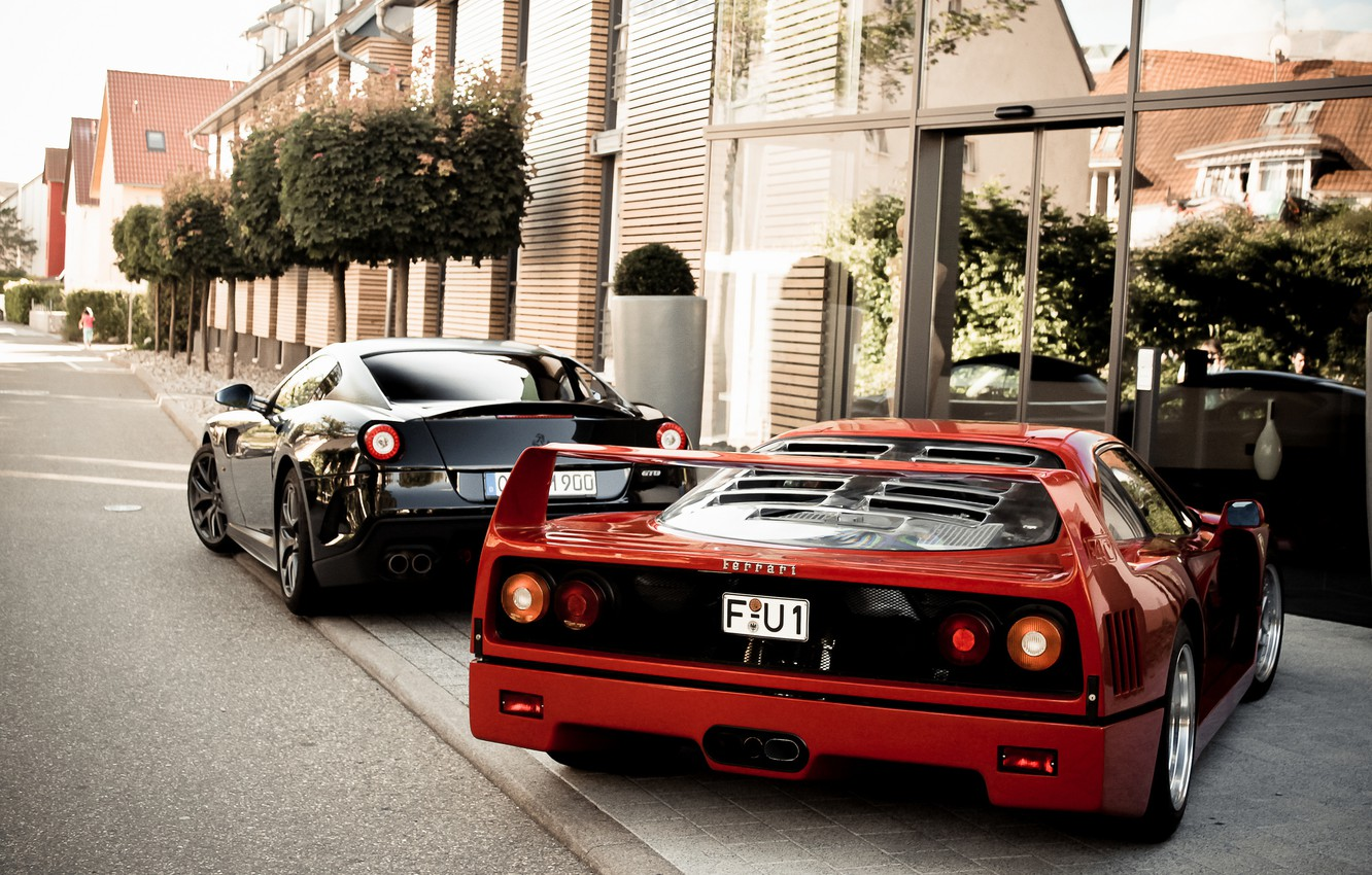 Photo wallpaper trees, red, black, the building, Ferrari, red, Ferrari, black, 599, tree, gto, back, building, f40, …