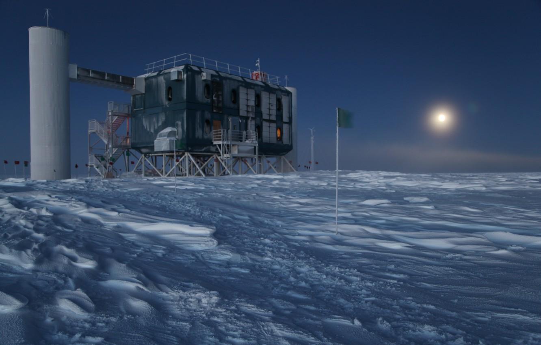 Photo wallpaper cold, night, Antarctica, Cube, Observatory, Observatory, Neutrino