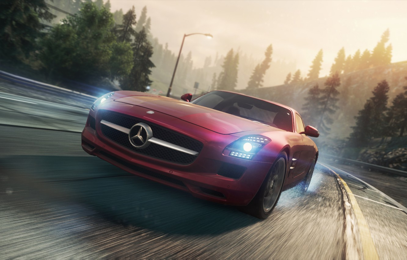 Photo wallpaper Mercedes, 2012, Need for Speed, AMG, SLS, Most Wanted, NSF, NFSMW