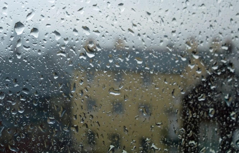 Photo wallpaper glass, water, drops, house, rain, blur, shape
