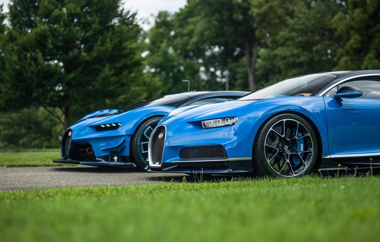 Photo wallpaper grass, lawn, Bugatti, Vision, hypercar, Gran Turismo, Chiron