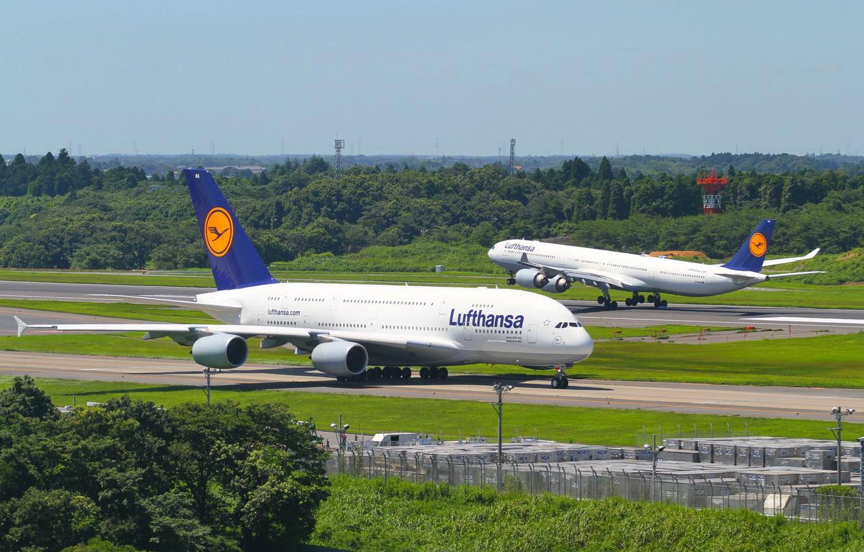 Photo wallpaper Germany, Airport, Flight, Flight, Germany, A380, Landing, Lufthansa, Airbus, Airbus, Lufthansa, 800, Airport, 600, A340, …