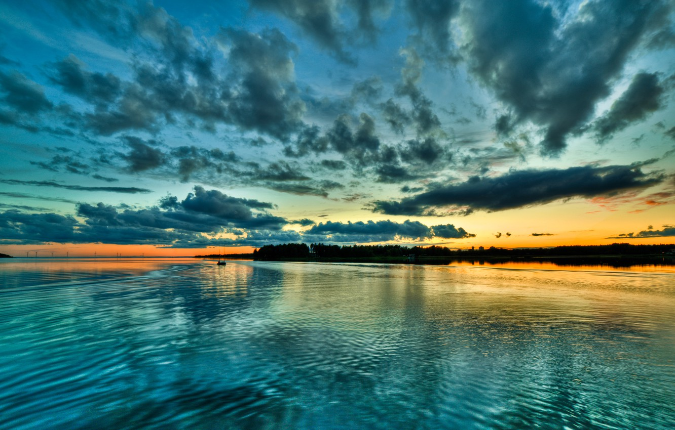 Photo wallpaper the sky, clouds, sunset, boat, Bay