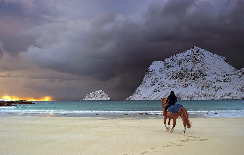 Photo wallpaper sand, sea, girl, snow, mountains, clouds, rain, shore, horse, surf