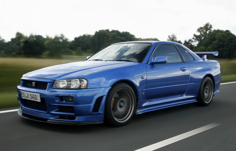 Photo wallpaper road, blue, nissan, sports car, skyline, Nissan, gt-r, r34, gtr, skyline, legendary car, v-spec
