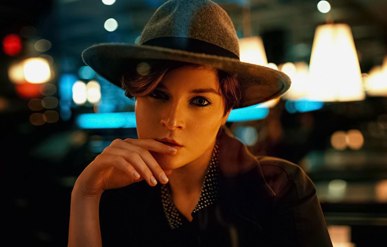 Photo wallpaper Girl, Look, Sponge, Hat, Face, Monica Meisel
