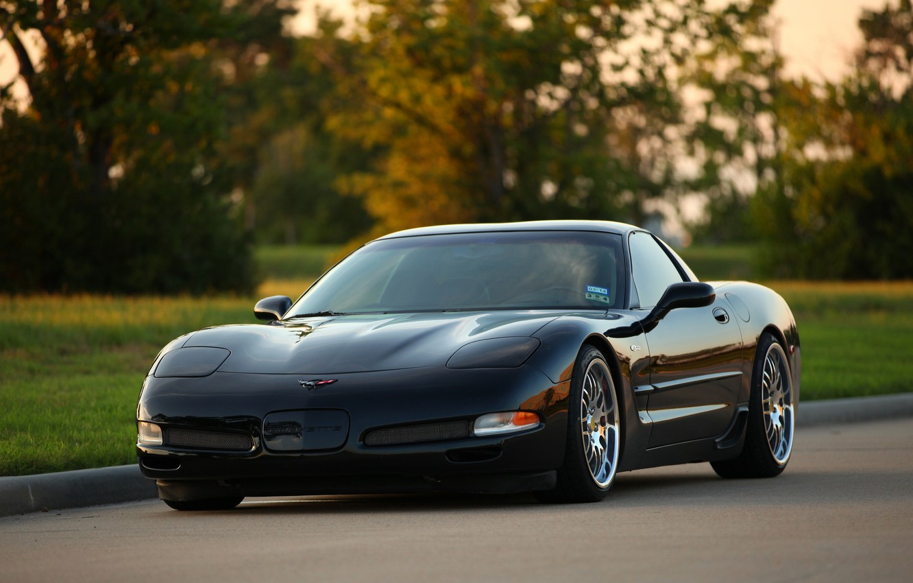 Photo wallpaper Z06, Corvette, Chevrolet, Black, Chrome, Wheels