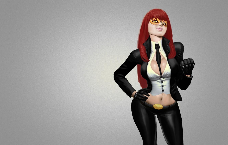 Photo wallpaper girl, glasses, grey background, viper, street fighter, street fighter, red hair