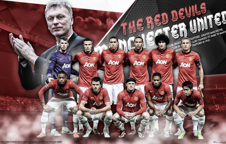 Photo wallpaper football, Vidic, Rooney, van Persie, Valencia, Ferdinand, Gea, Fellaini, Smalling, Evra, Carrick, David Moyes, Kagawa, …