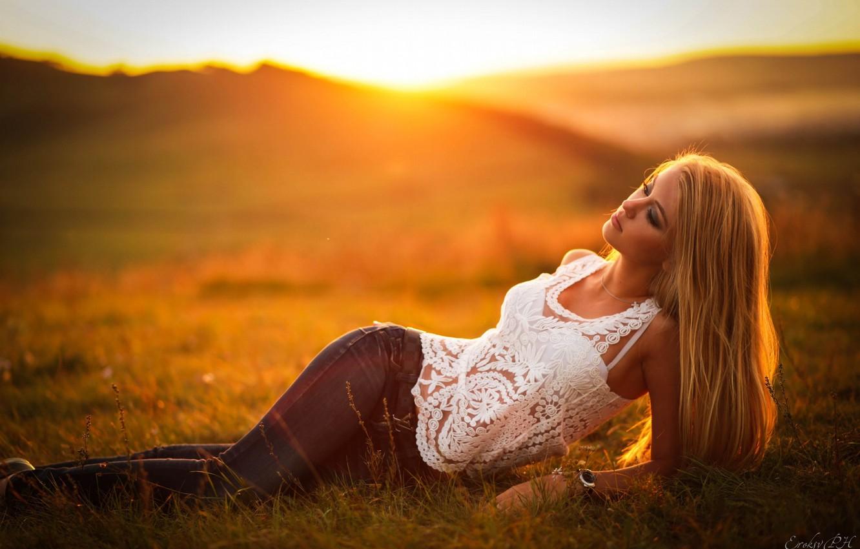 Photo wallpaper Girl, Model, Sunset, Blonde, View, Maria, Fashion, Hair, Lies