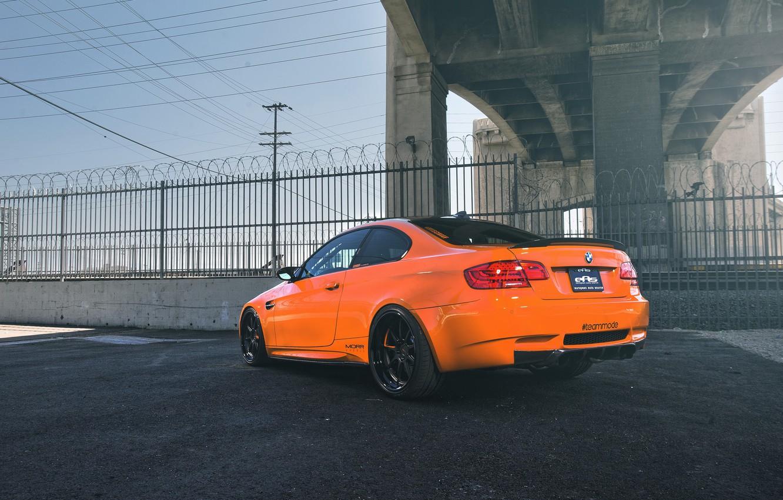 Photo wallpaper orange, bmw, BMW, the fence, barbed wire, orange, back, e92