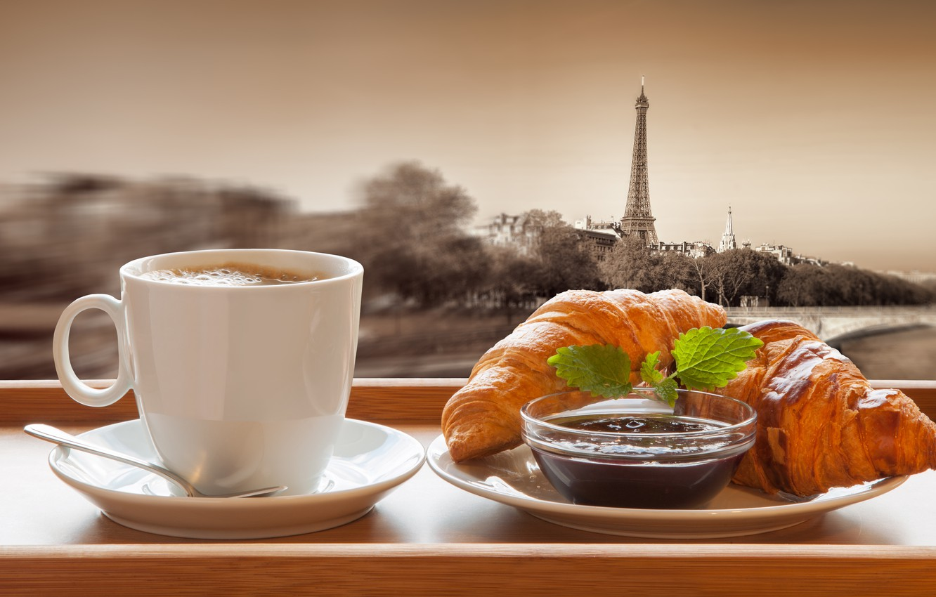 Photo wallpaper Paris, coffee, chocolate, Breakfast, Cup, France, cakes, growing, breakfast, croissant