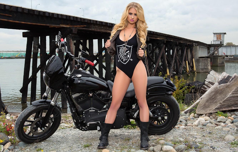 Photo wallpaper girl, black, model, playboy, blonde, motorcycle, girl, biker, bike, hardcore, model, playboyplus, biker, Maya Rae