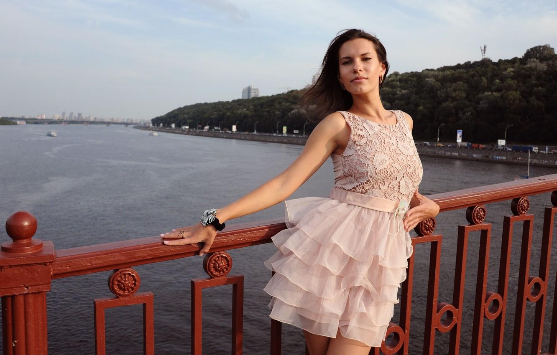 Photo wallpaper look, bridge, pose, Girl, dress, Suzanna