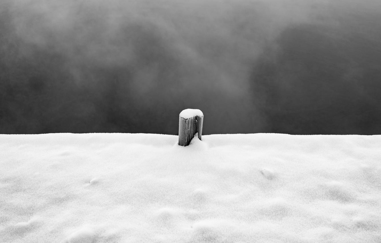 Photo wallpaper sky, winter, snow, pillar
