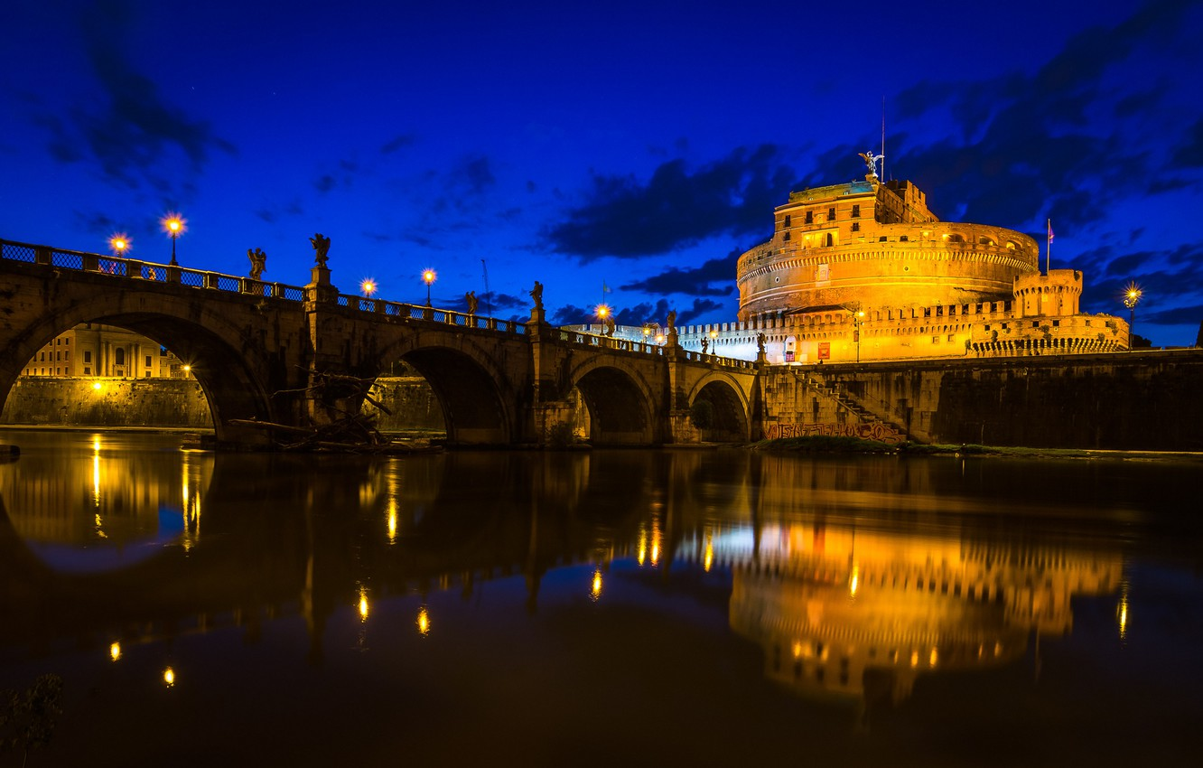 Photo wallpaper the sky, clouds, bridge, river, Rome, Italy, The Tiber, Castel Sant'angelo
