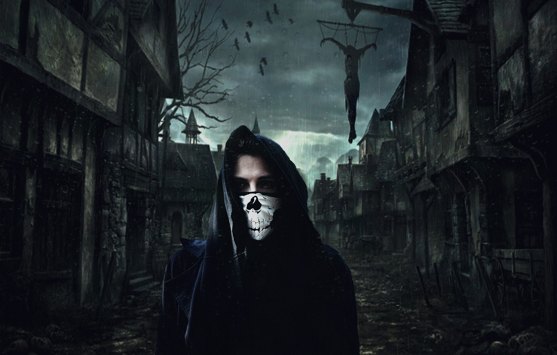 Photo wallpaper the darkness, skull, black, mantle, killer, hanging