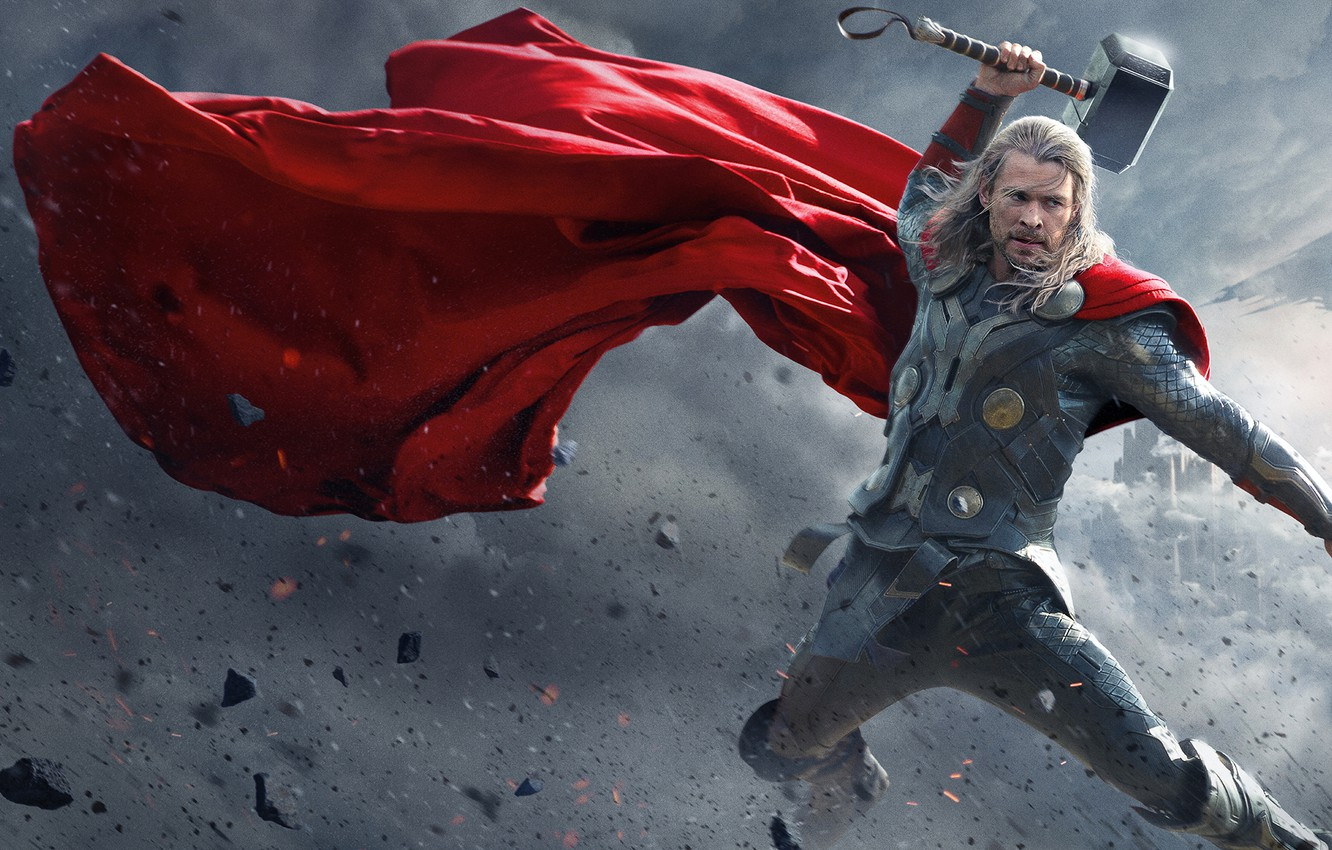 Photo wallpaper Dark, World, Action, Red, Disney, Fantasy, Sky, Warrior, The, Marvel, Thor, Walt, God, Weapons, Chris …