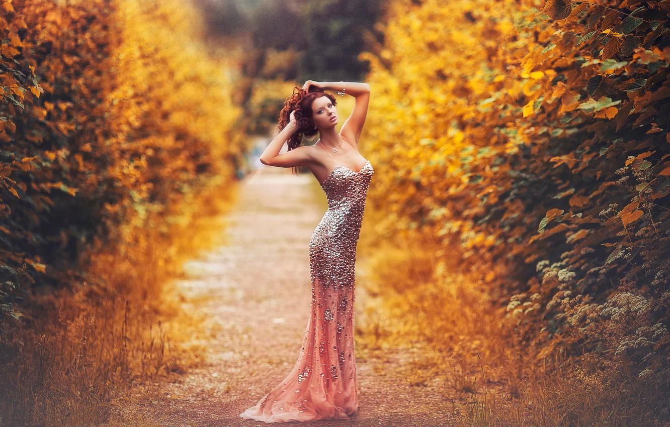 Photo wallpaper autumn, figure, dress, shoes, sexy, Karen Abramyan