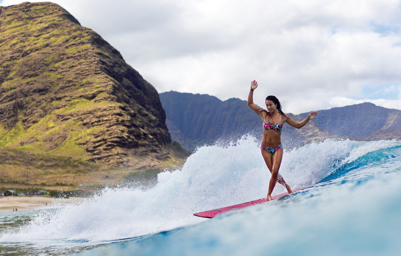 Photo wallpaper girl, mountains, the ocean, surfing, Board, surfing