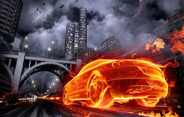 Photo wallpaper auto, the city, fire, graphics