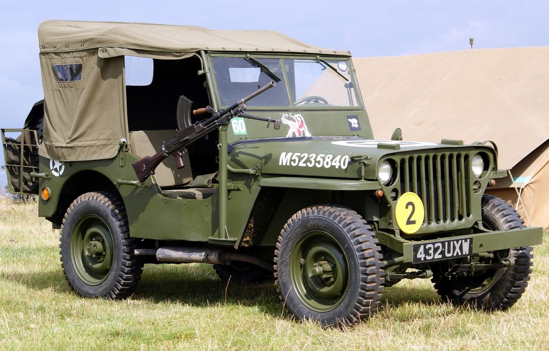 "Photo wallpaper grass, war, car, machine gun, army, manual, 1944, Jeep, high, patency, world, Second, times, ""Willis-MV"", …"