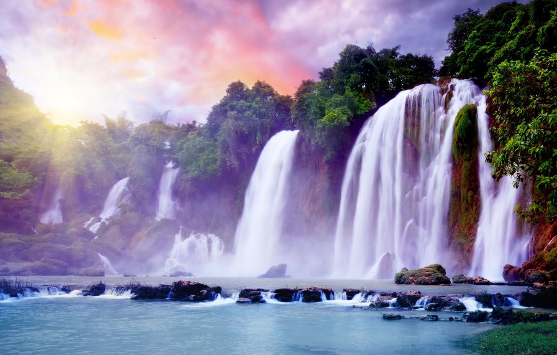 Photo wallpaper the sky, the sun, clouds, tropics, Paradise, waterfall, beautiful, Beautiful waterfall, the Yarkon