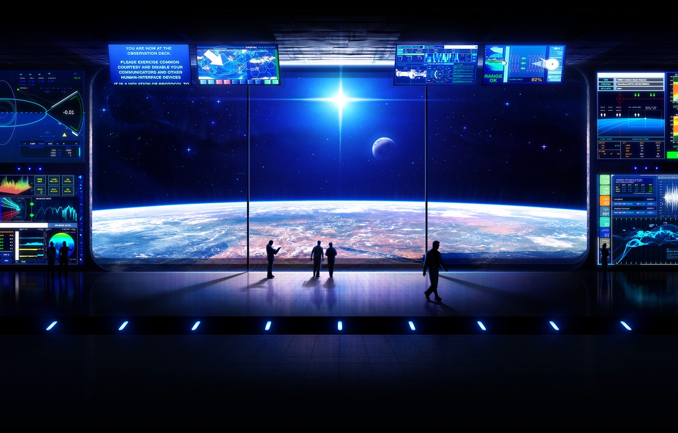Photo wallpaper space, stars, planet, station