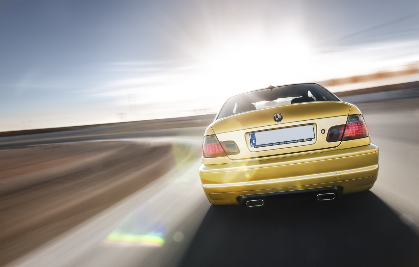 Photo wallpaper BMW, speed, BMW, gold, E46, gold, in motion