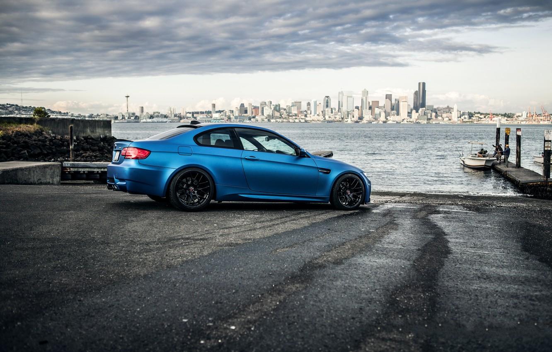Photo wallpaper black, Marina, bmw, BMW, pierce, Seattle, wheels, drives, black, side view, e92, Seattle, matte blue, …