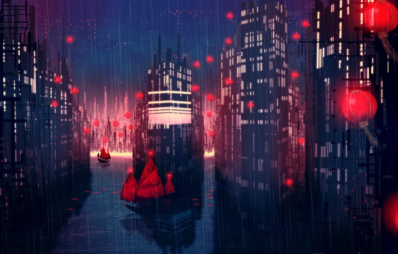 Photo wallpaper night, the city, rain, ships, art, lights, red, East, pouring, Redlamp city
