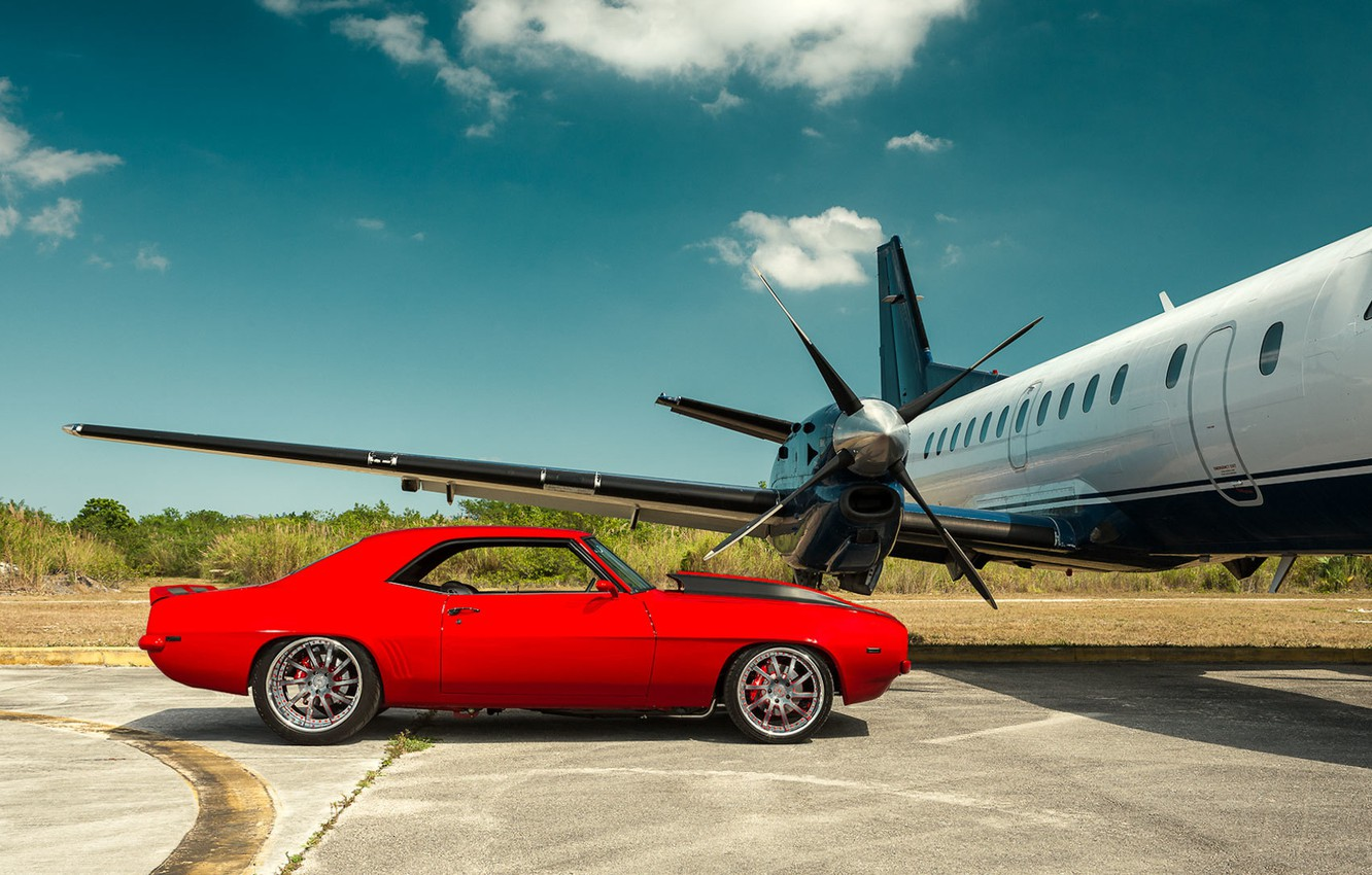 Photo wallpaper Chevrolet, Camaro, red, muscle car, Plane, Andrew Link Photography