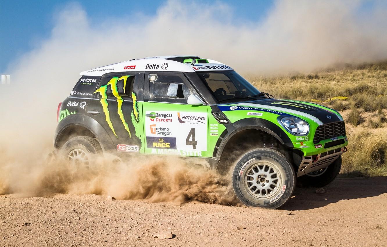 Photo wallpaper Auto, Dust, Sport, Green, Machine, Race, Day, Mini Cooper, Rally, Dakar, SUV, MINI, Side view, …