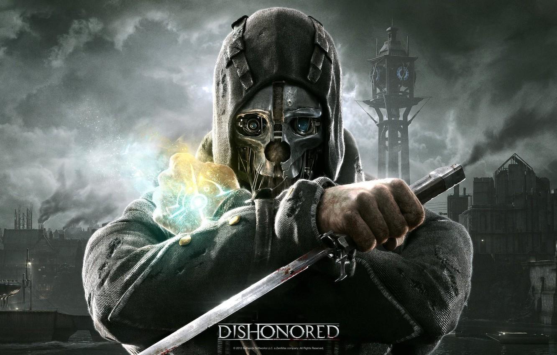 Photo wallpaper mask, dagger, Dishonored, Bethesda, bodyguard, Corvo