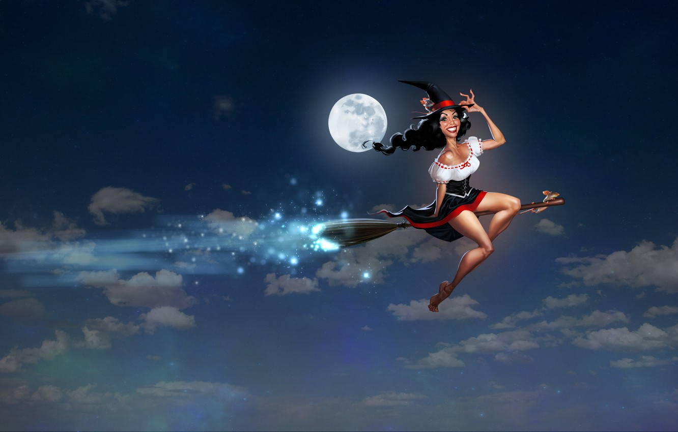 Photo wallpaper the sky, clouds, night, smile, hat, dress, witch, legs, broom, mouse, the full moon, bust, …