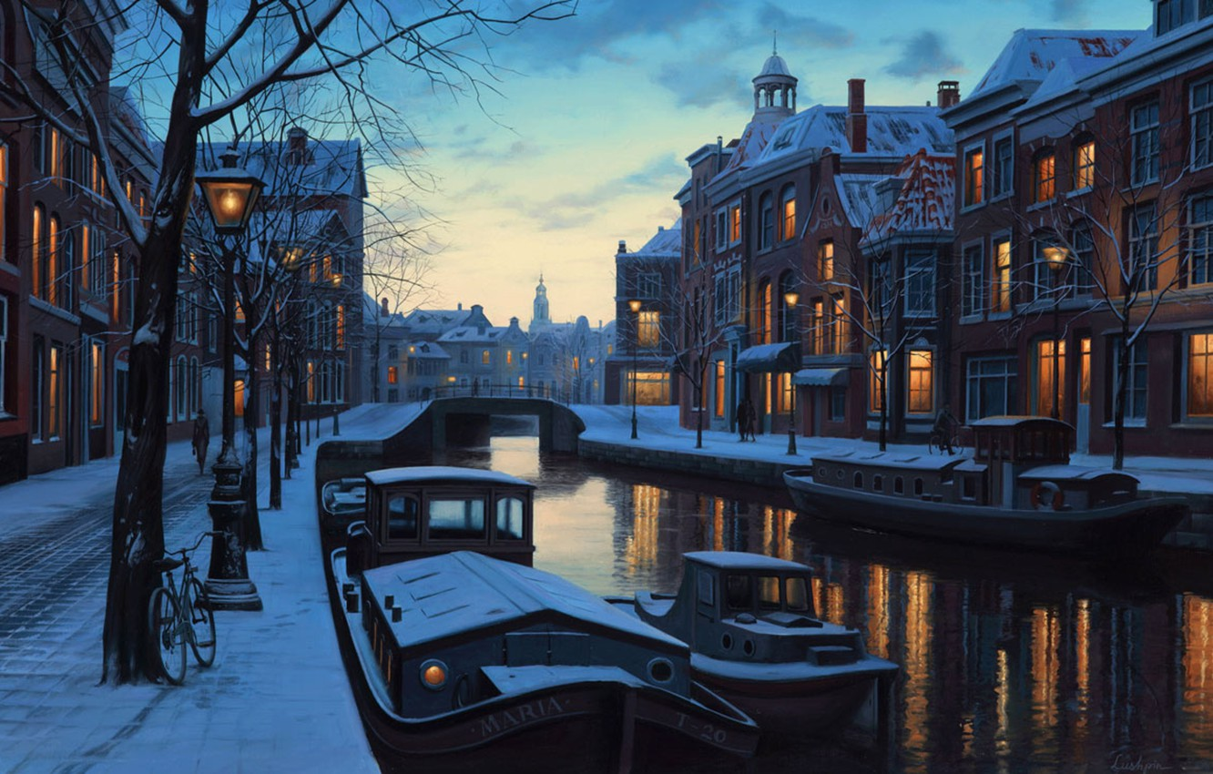 Photo wallpaper winter, snow, bridge, bike, lights, lights, river, home, boats, Amsterdam, lights, Netherlands, twilight, painting, twilight, …