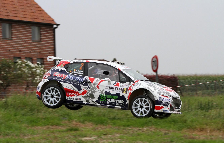 Photo wallpaper Grass, House, Jump, Peugeot, Rally, 208, T16