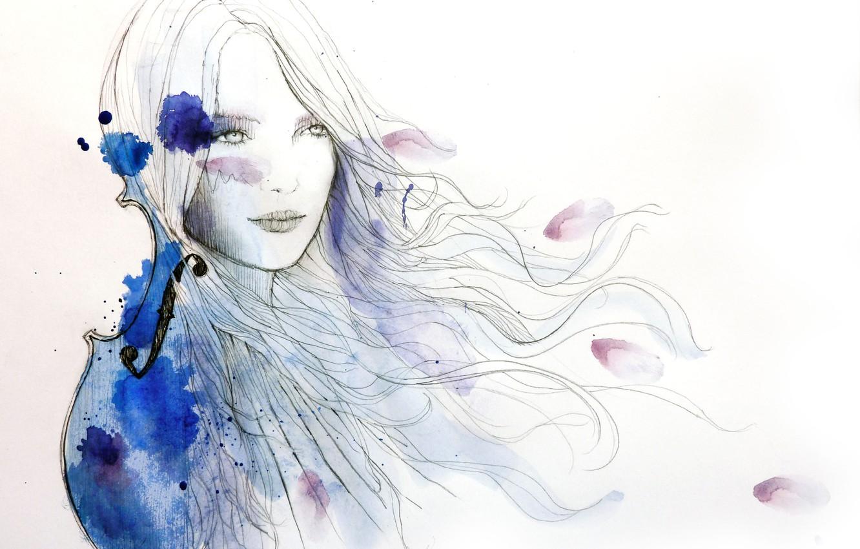 Photo wallpaper girl, violin, hair, figure, paint, art, blots