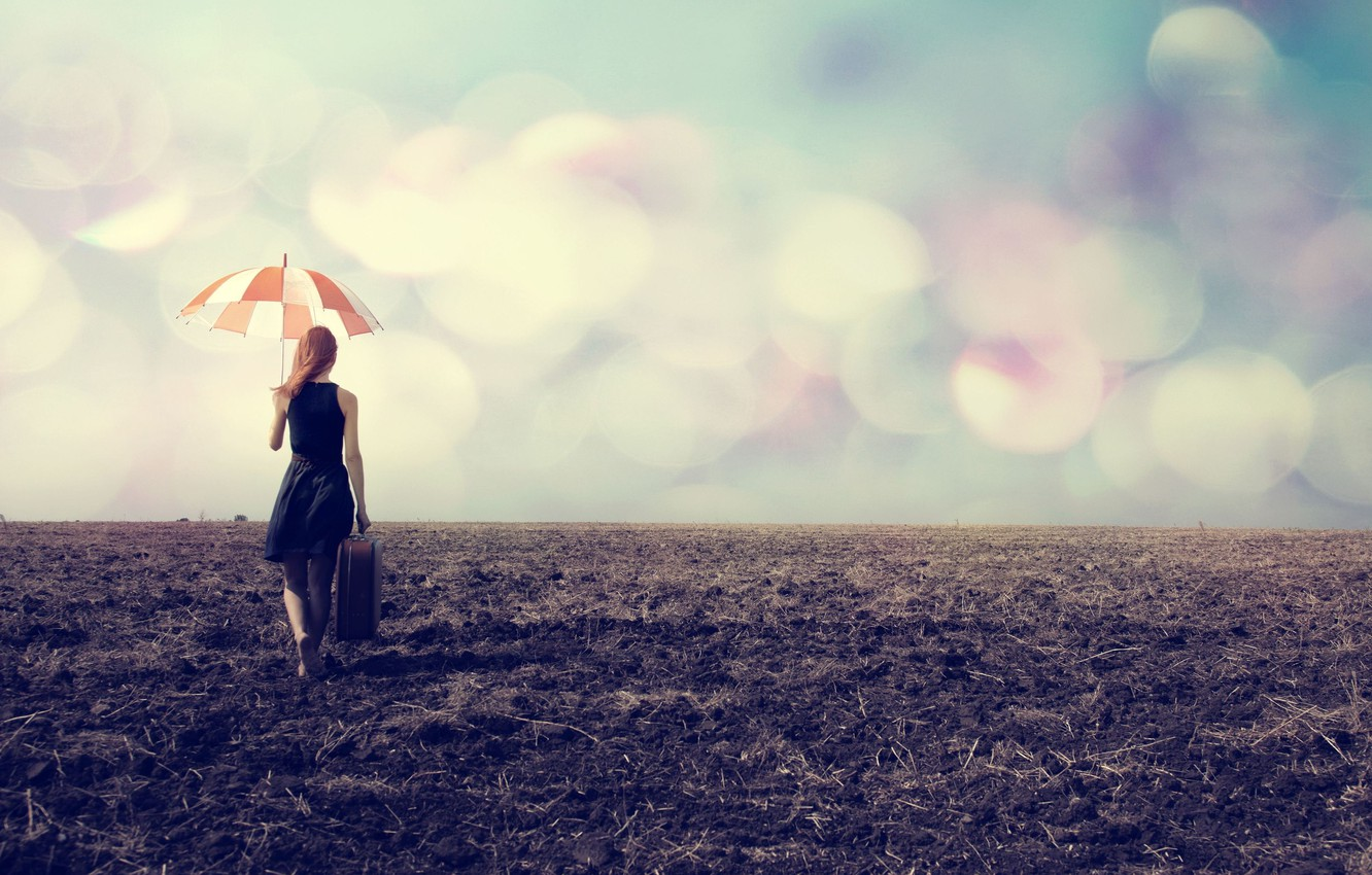Photo wallpaper girl, nature, the way, umbrella, background, Wallpaper, mood, umbrella, wallpaper, suitcase, widescreen, background, bokeh, full …