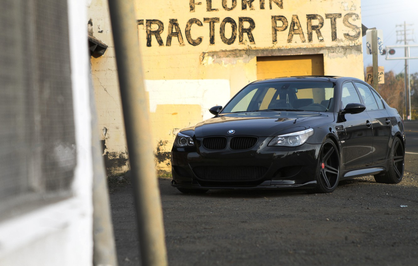 Photo wallpaper black, the inscription, the building, bmw, BMW, black, front view, yellow, e60, building, yellow