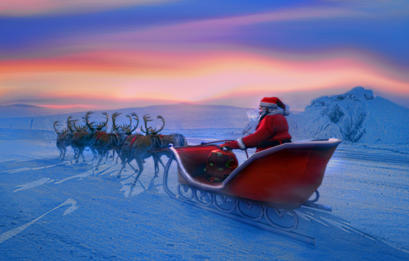 Photo wallpaper winter, new year, new year, Santa Claus, deer, Santa Claus