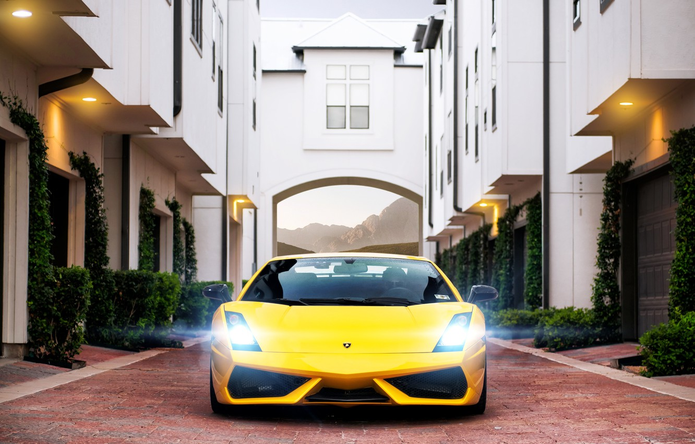 Photo wallpaper the building, Lamborghini, pavers, Superleggera, Gallardo, Blik, yellow, Lamborghini, yellow, garages, Lamborghini, Gallardo, Superleggera