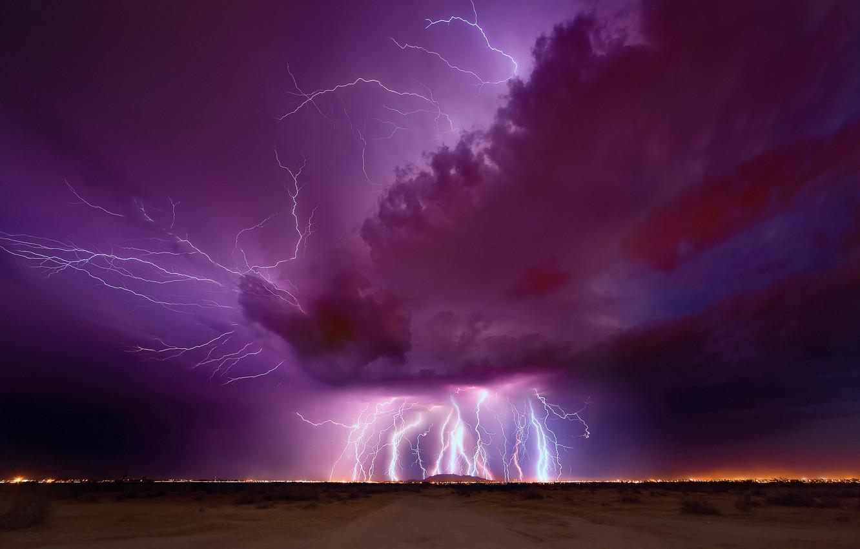 Photo wallpaper the storm, the sky, night, clouds, zipper, lightning, the evening, AZ