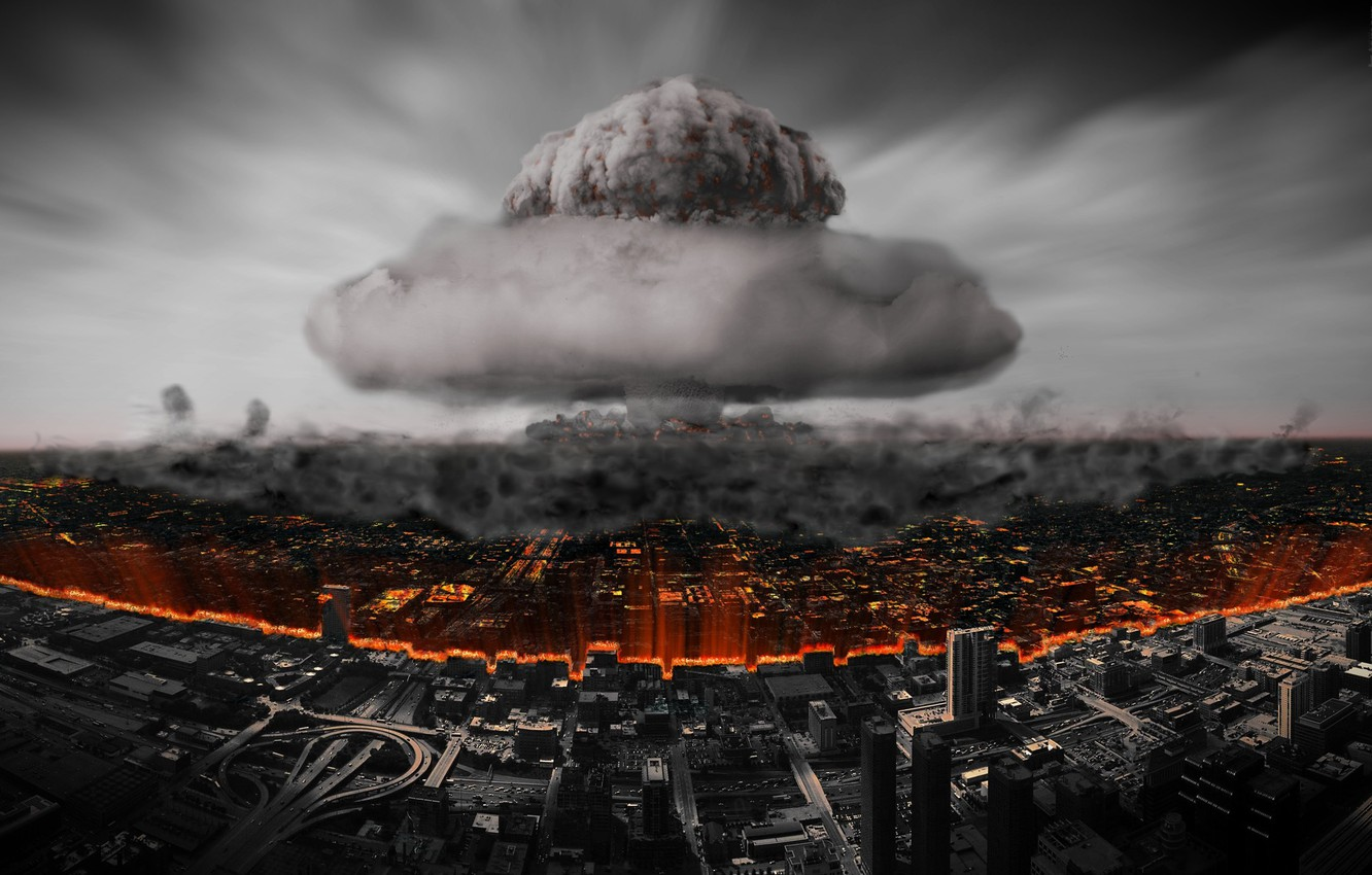 Photo wallpaper the city, destruction, A nuclear explosion, atomic bomb