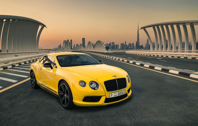 Photo wallpaper Bentley, Continental, Car, Yellow, Luxury, Dudai