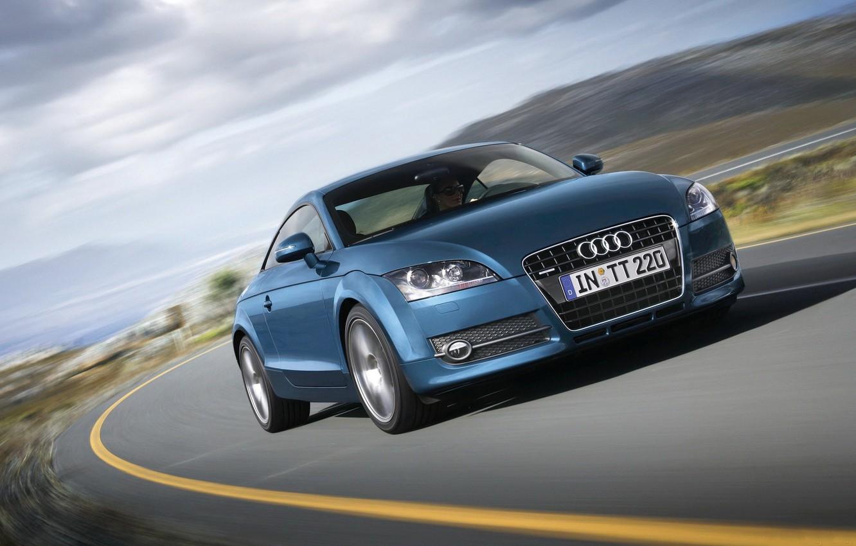 Photo wallpaper Audi, speed, blue, Audi TT